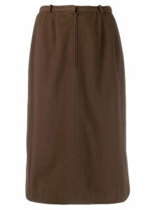 Jean Louis Scherrer Pre-Owned front zip skirt - Brown