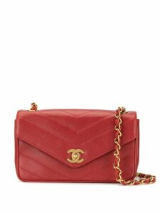 Chanel Pre-Owned V-stitch chain shoulder bag - Red