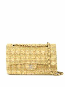 Chanel Pre-Owned double flap tweed shoulder bag - Yellow