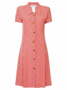 Chanel Pre-Owned checked shirt dress - Red