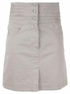 Chanel Pre-Owned CC button high waist skirt - Grey