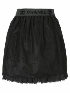 Chanel Pre-Owned sport line CC frilled skirt - Black
