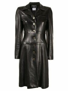 Chanel Pre-Owned CC logo long sleeve coat dress - Black