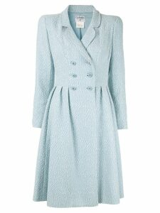Chanel Pre-Owned CC logo buttoned long sleeve coat - Blue