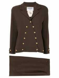 Chanel Pre-Owned Chanel CC setup suit jacket skirt - Brown