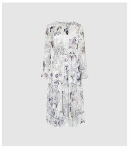 Reiss Annabelle - Floral Printed Midi Dress in Blue/ White, Womens, Size 16