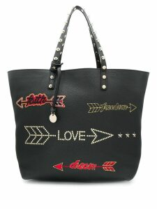 Red Valentino RED(V) arrow embroidered tote bag - Black