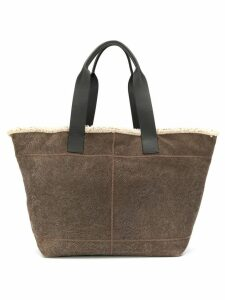 Brunello Cucinelli shearling lined tote bag - Grey