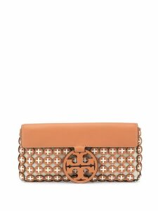 Tory Burch maxi logo clutch bag - Brown