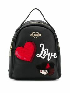 Love Moschino backpack with patches - Black