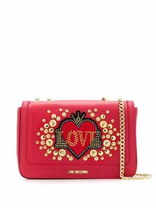 Love Moschino studded shoulder bag - Red