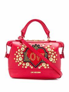 Love Moschino logo zipped tote - Red