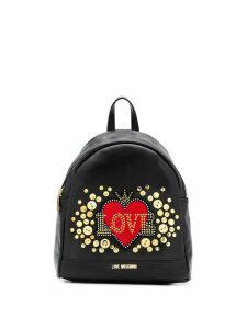 Love Moschino Love embellished heart backpack - Black