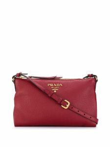 Prada logo plaque crossbody bag - Red