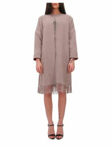 Marit Ilison Lfs Beige Fringed Coat