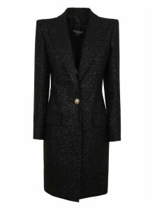 Balmain One Button Tweed Coat