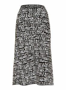 Balenciaga Logo Wave A-line Skirt