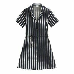 Star Vertical Striped Shirt Dress with Tie-Waist
