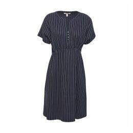 Vertical Striped Flared Dress with Short Sleeves