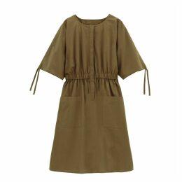 Cotton Utility Drawstring Waist Dress