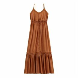 Buttoned Macramé Maxi Dress with Shoestring Straps