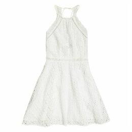 Teagan Cotton Short Halterneck Dress in Broderie Anglaise