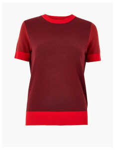 M&S Collection Colour Block Short Sleeve Knitted Top