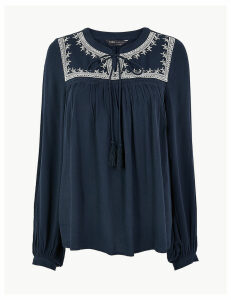 M&S Collection Embroidered Peasant Blouse