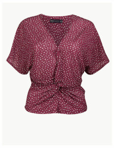 M&S Collection Polka Dot Twist Front Regular Fit Blouse