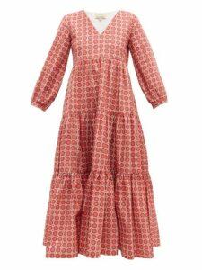 Muzungu Sisters - Frangipani Circle Print Tiered Cotton Dress - Womens - Purple Multi