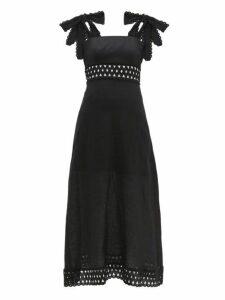 Zimmermann - Verity Tie Shoulder Linen Maxi Dress - Womens - Black