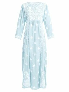 Muzungu Sisters - Floral Embroidered Silk Dress - Womens - Light Blue