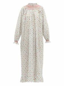 Loretta Caponi - Smocked Floral Print Cotton Maxi Dress - Womens - White Multi