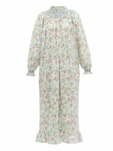 Loretta Caponi - Smocked Floral Print Cotton Maxi Dress - Womens - White Multi