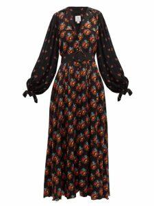 Gül Hürgel - Contrast Sleeve Belted Poplin Dress - Womens - Navy Print
