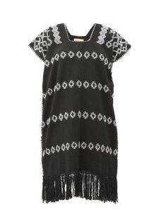 Pippa Holt - Embroidered Cotton Mini Kaftan - Womens - Black White