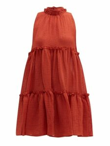 Lisa Marie Fernandez - Erica Ruffled Linen Blend Mini Dress - Womens - Red