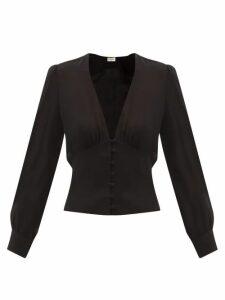 Evi Grintela - Olivia High Neck Floral Print Cotton Dress - Womens - Blue Print