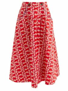 Gül Hürgel - Floral Print Shawl Collar Dress - Womens - Navy Print