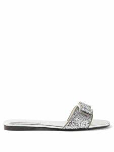 Gül Hürgel - Angel Sleeve Box Pleated Poplin Dress - Womens - Navy Print