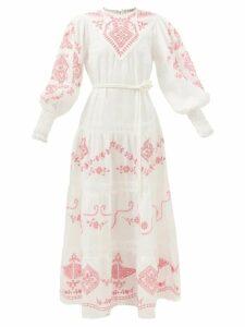 D'ascoli - Meadow Floral-print Cotton Maxi Dress - Womens - Yellow