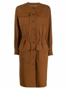 Yves Saint Laurent Pre-Owned '1980s round neck dress - Brown