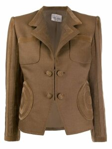Valentino Pre-Owned 1990's velvet appliqués fitted blazer - Brown