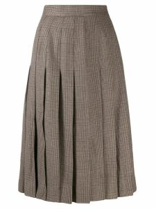 Céline Pre-Owned 1970's prince of wales pleated skirt - Neutrals