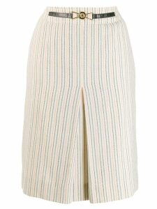 CÉLINE PRE-OWNED front pleat midi skirt - Neutrals