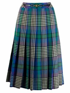 CÉLINE PRE-OWNED checked pleated midi skirt - Blue