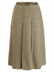 CÉLINE PRE-OWNED checked midi skirt - Green