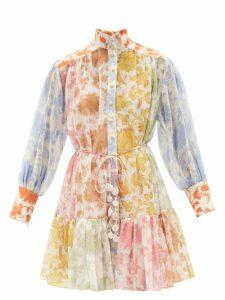 Rianna + Nina - Volant Patchwork Print Silk Kimono Coat - Womens - Multi