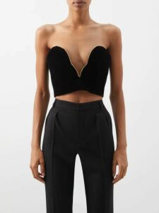 Miu Miu - Bow Trim Wool Blend Cardigan - Womens - Dark Grey
