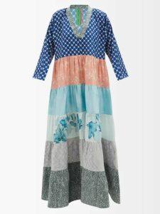Rochas - Full Skirt Checked Wool Blend Midi Dress - Womens - Brown Multi